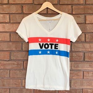Wildfox vote short sleeve v neck cotton tee NWT